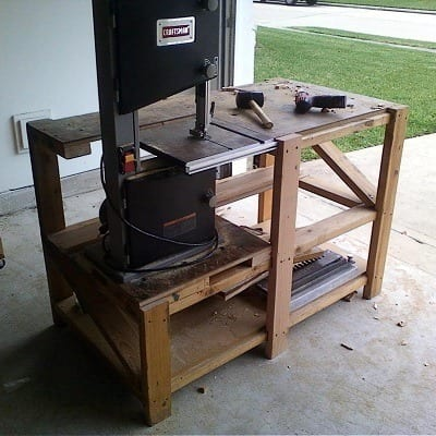 benchtop band saw in the garage
