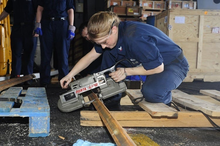working with portable band saw